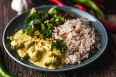 Masala fatto a mano di tikka del curry del pollo con riso basmati e il brocco Fotografia Stock Libera da Diritti