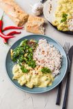 Masala fatto a mano di tikka del curry del pollo con riso basmati e il brocco Immagine Stock Libera da Diritti