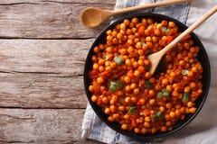 Masala indien de Chana de nourriture sur une table vue supérieure horizontale Photos libres de droits