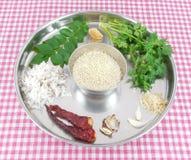 Masala Ingredients. In a steel plate Stock Photo