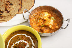 Masala Paneer with Dal Makhani Royalty Free Stock Photo