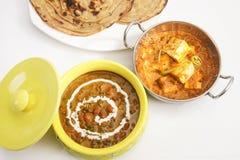 Masala Paneer met Dal Makhani Stock Afbeeldingen