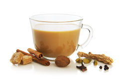 Masala tea. With spices.National indian traditional beverage with tea, milk and spices Stock Photography