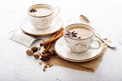 Masala tea in cup with winter spices Stock Photography