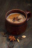 Masala tea in a ceramic mug, closeup Stock Photos