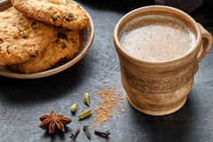 Masala tea chai latte traditional hot Indian sweet milk spiced drink, teh tarik, ginger Royalty Free Stock Image