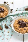 Masala Tea Chai Rice Pudding with Chocolate royalty free stock images
