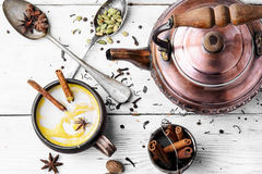 Masala tea hot Indian with milk Stock Image