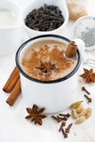 Masala tea and ingredients, top view Stock Image