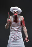 Masarka mężczyzna agresywny maniacki szef kuchni w krwi Obrazy Royalty Free