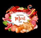 Masarka sklep i smakosz kulinarne mięsne kiełbasy ilustracji