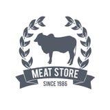 Masarka sklepu etykietka mięso organicznie również zwrócić corel ilustracji wektora Zdjęcie Stock