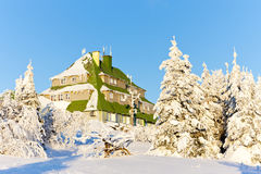 Masarykova Cottage. In Orlicke Mountains in winter, Czech Republic Stock Image