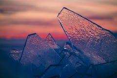 Masas de hielo flotante de hielo transparentes hermosas en la puesta del sol Imagen de archivo libre de regalías