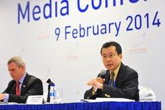 Masaya Hasebe, Managing Director of Jetro Singapore speaking at media conference of Singapore Airshow Stock Image
