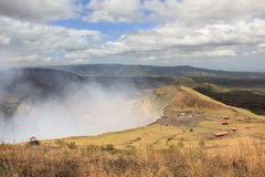 Masaya Volcano, Nicaragua. Masaya is a caldera located in Masaya, Nicaragua, 20 km south of the capital Managua. It is Nicaragua`s first and largest national stock image