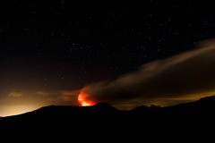 Masaya volcano view at night during an eruption Royalty Free Stock Images