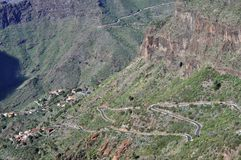 Masca谷,全景路,特内里费岛 免版税图库摄影