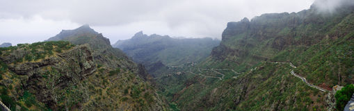 Masca mountain range. View from high up of the lush green mountainous area of masca, tenerife Royalty Free Stock Photo
