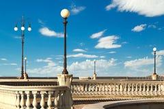 Mascagni taras i jego latarnie uliczne (deptak Livorno, Tu Zdjęcia Stock