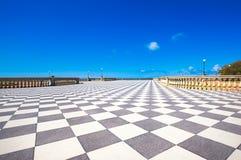 Mascagni Terrazza terrace belvedere, black and white floor. Livorno Tuscany Italy. Mascagni Terrazza terrace belvedere seafront, black and white checkerboard stock photography