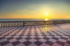 Mascagni Terrazza terrace belvedere at sunset. Livorno Tuscany I. Mascagni Terrazza terrace belvedere seafront atr sunset, black and white checkerboard floor Royalty Free Stock Photos
