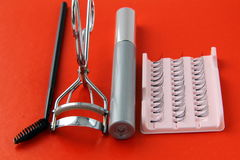 mascara βουρτσών eyelashes καθορισμέν&epsilon Στοκ Φωτογραφίες