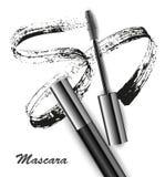 Mascara και βουρτσών διάνυσμα κτυπήματος, ομορφιά και καλλυντικό υπόβαθρο επίσης corel σύρετε το διάνυσμα απεικόνισης στοκ εικόνες