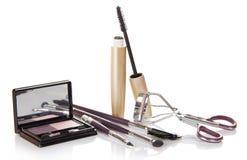 Mascara, σκιές, eyelash ρόλερ και σύνολο Στοκ Εικόνες