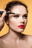 Mascara Applying. Long Lashes closeup stock photography