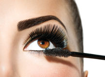 Mascara applying. Long lashes closeup. Makeup for brown eyes Stock Photo