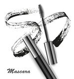 Mascara and brush stroke vector, beauty and cosmetic background. Vector illustration.  Stock Photo