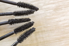 Mascara brushes, cosmetic to enhance eyelashes from different br Royalty Free Stock Photography