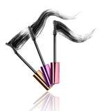 Mascara brushes with strokes isolated on white background Stock Photos