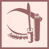 Mascara and closed eye and brow icon Stock Image