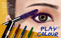 Mascara design ad. Mascara design picture, with bright right eye, eyelash and colorful brushes for advertising use, 3d illustration Stock Photography