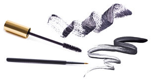 Mascara en eyeliner Stock Afbeelding