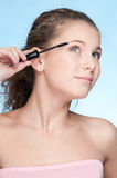 Mascara eye zone make up by brush Royalty Free Stock Photos