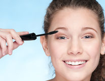 Mascara eye zone make up by brush Royalty Free Stock Images