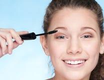 Mascara eye zone make up by brush Royalty Free Stock Images