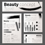 Mascara fashion cards, banners, flyer or brochure with realistic vector cosmetic objects Royalty Free Stock Images