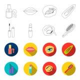 Mascara hårborste, läppstift, ögonbrynblyertspenna, fastställda samlingssymboler för makeup i översikten, materiel för symbol för royaltyfri illustrationer