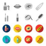 Mascara hårborste, läppstift, ögonbrynblyertspenna, fastställda samlingssymboler för makeup i monokrom, materiel för symbol för l vektor illustrationer