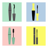 Mascara icons. Set of different mascara different types Royalty Free Stock Images