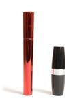 Mascara and lipstick Stock Photos