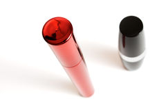 Mascara and lipstick Stock Images