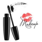 Mascara Makeup σωλήνας, βούρτσα και απομονωμένη λεκές διανυσματική απεικόνιση Στοκ Φωτογραφίες
