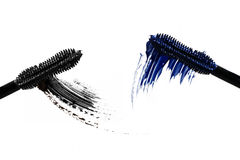Mascara texture. Black and blue mascara texture on a white background Royalty Free Stock Photography