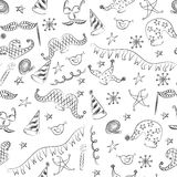 Seamless Pattern of Hand Drawn Party Symbols. Children Drawings of Masquerade Elements. Sketch Style. Stock Photography