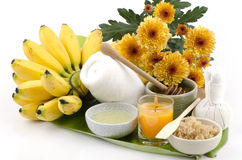 Mascare a máscara facial com nome tailandês de Kluai Khai da banana, Mas de Pisang (Musa (grupo do AAA), mel, claras de ovos e açú Fotografia de Stock Royalty Free